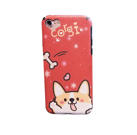 Corgi Say Hi to the Bone (Red) Phone Case