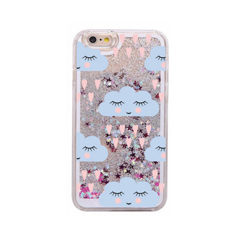 Glitter Waterfall Phone Case - Blue Cloud