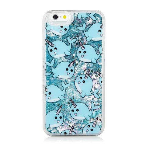 Glitter Waterfall Phone Case - Blue Narwhal