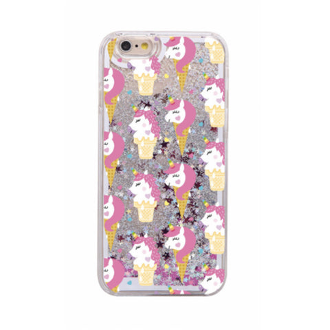 Glitter Waterfall Phone Case - Unicorn Ice Cream Cone