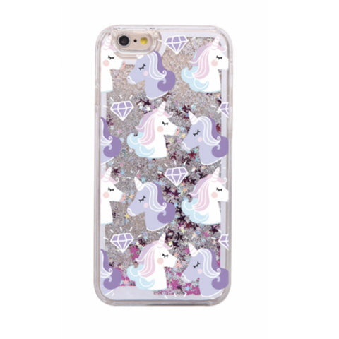 Glitter Waterfall Phone Case - Unicorn with Diamond