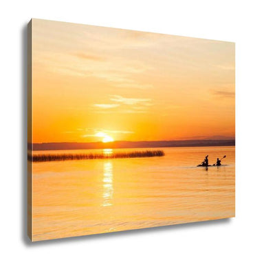 Gallery Wrapped Canvas, Silhouette Of Two Canoeists On Lake During Sunset