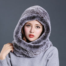 Load image into Gallery viewer, Hat Knitted Real Rex Rabbit Fur Hat Hooded Scarf