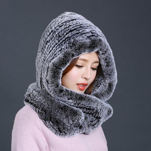 Hat Knitted Real Rex Rabbit Fur Hat Hooded Scarf
