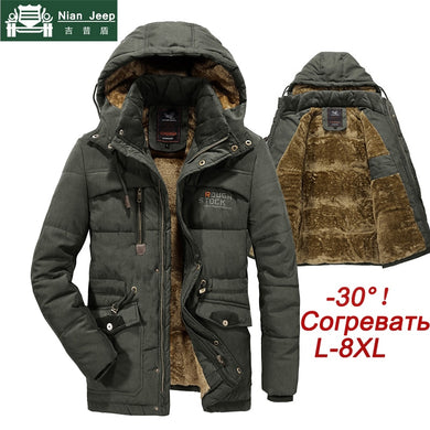 Jacket Men Thick Warm Wool Liner Hooded