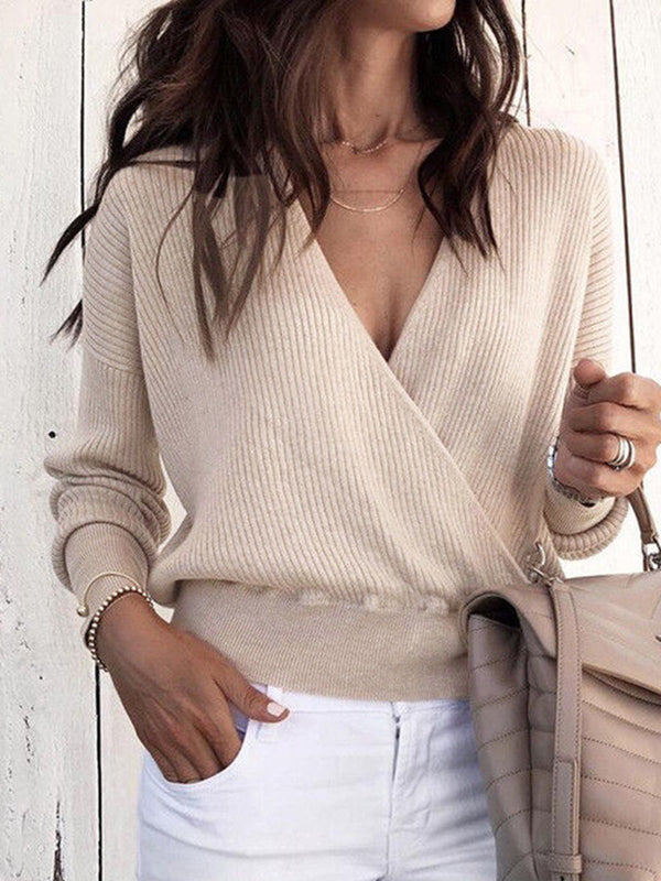 Women Vintage Knitted Long Sleeve Sweater