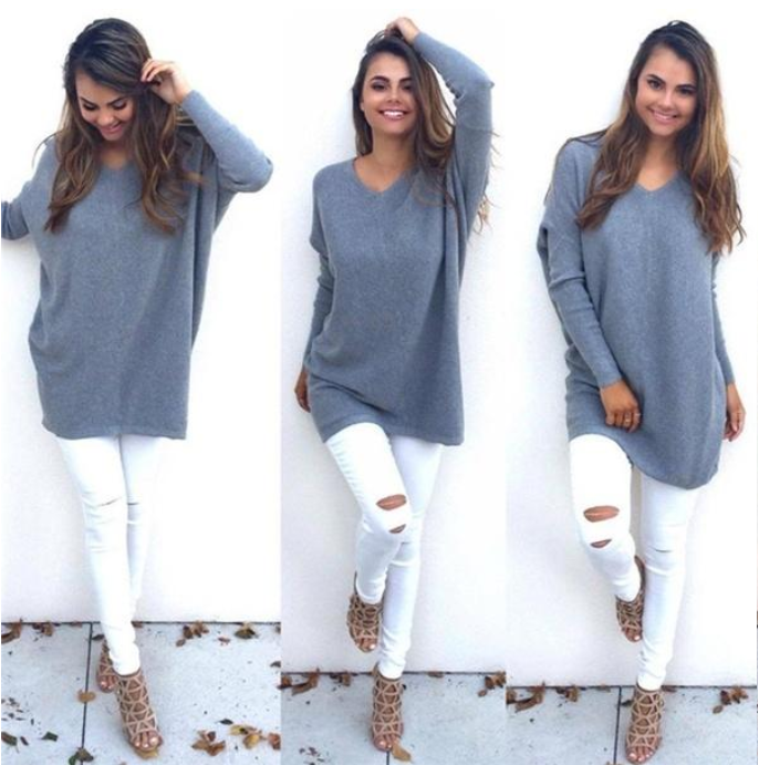V-Neck Chunky Knitted Sweater Oversized Baggy Pullover Jumper Tops Warm Outwear