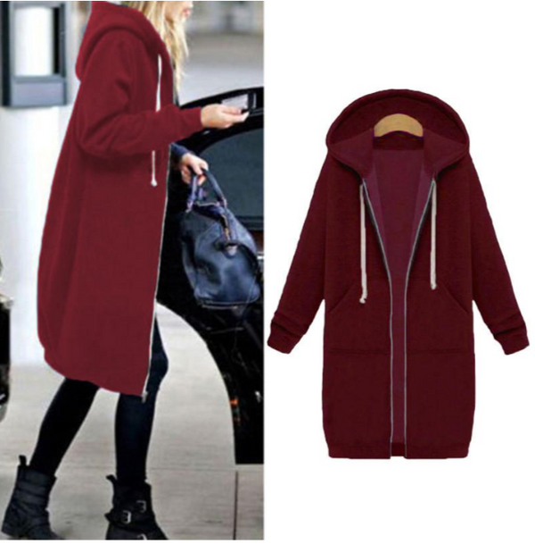 Women Casual Long Sleeve H-line Hoodie Coat