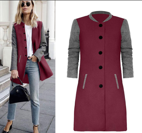 Womens Color Block Paneled Long Coat
