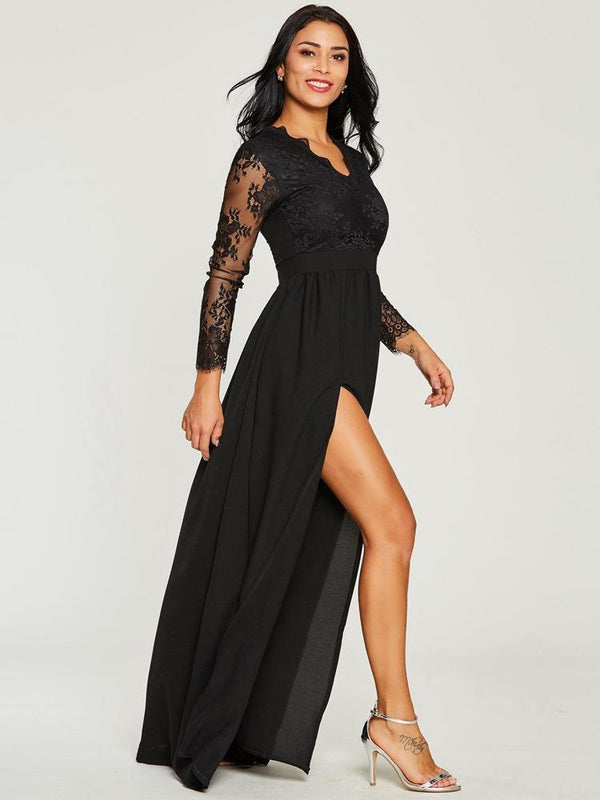 Sexy Lace Women Black Evening Dress V-neck Long Sleeved Elegant Maxi Dress