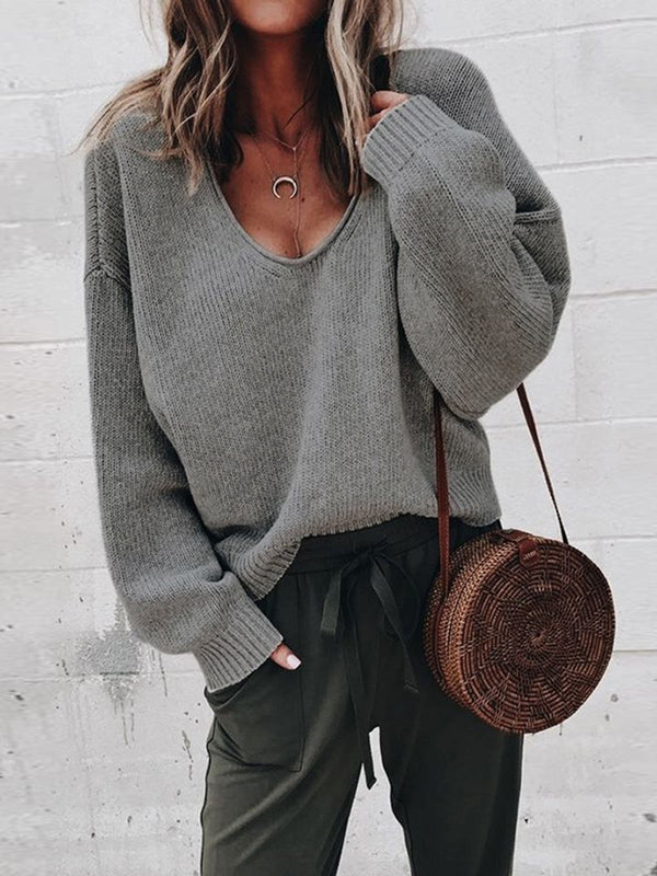 Women V Neck Casual Long Sleeve Knitted Sweaters
