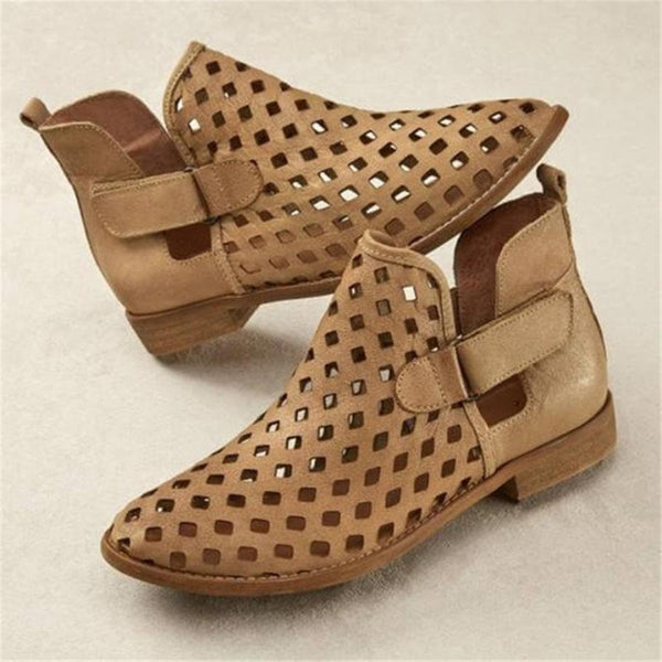 Women Fashion Retro Hollow Flat Casual Shoes