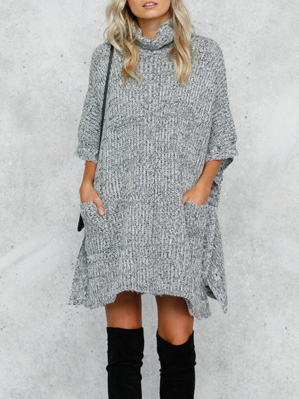 Women Gray Solid Cowl Neck Casual Shift Knitted Dress