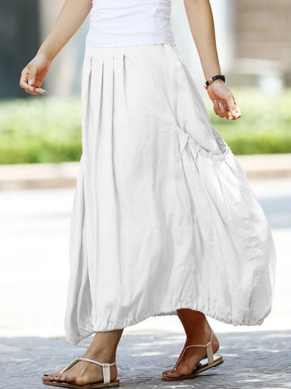 Pockets Pleated A-Line Casual Loose Skirts
