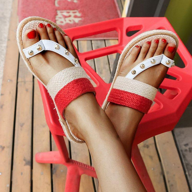 Women Flip Flops Woven Low Heel Canvas Slippers