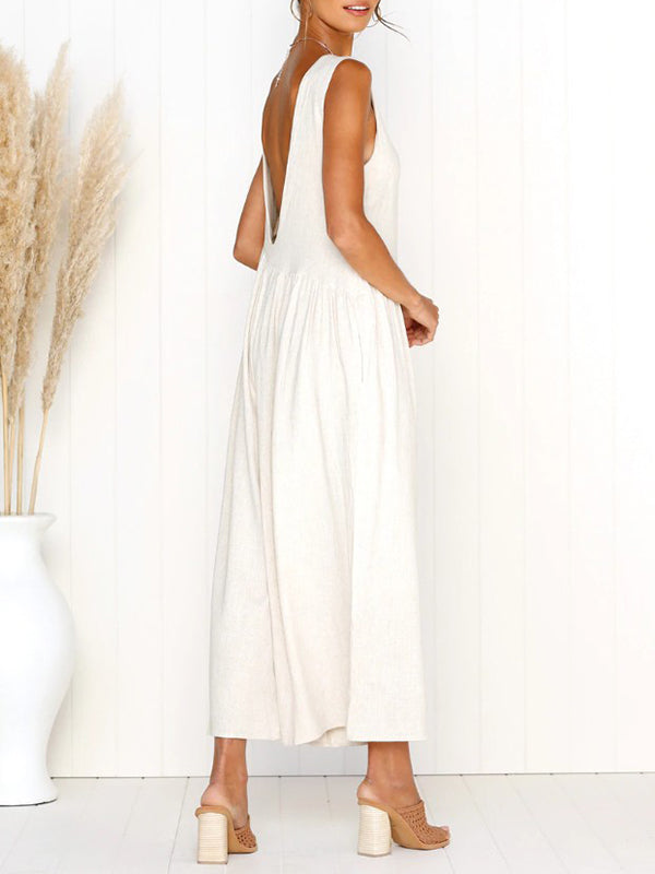 Women Loose Solid Color Jumpsuits Siamese Trousers