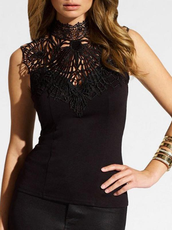 Black Women Backless Vest Sleeveless Shirt