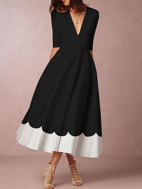 Black Women Elegant Half Sleeve Dress Midi Dresses