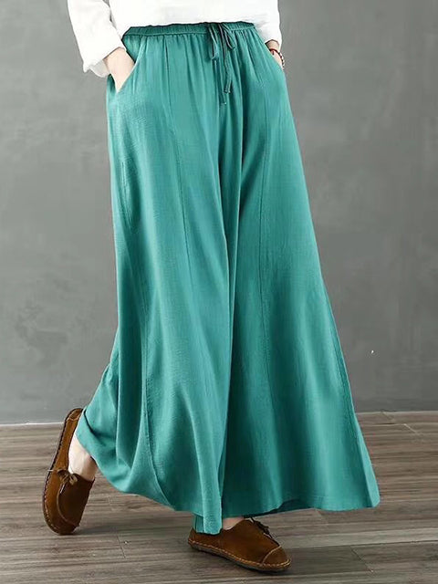 Women Solid Color Wide Leg Pants