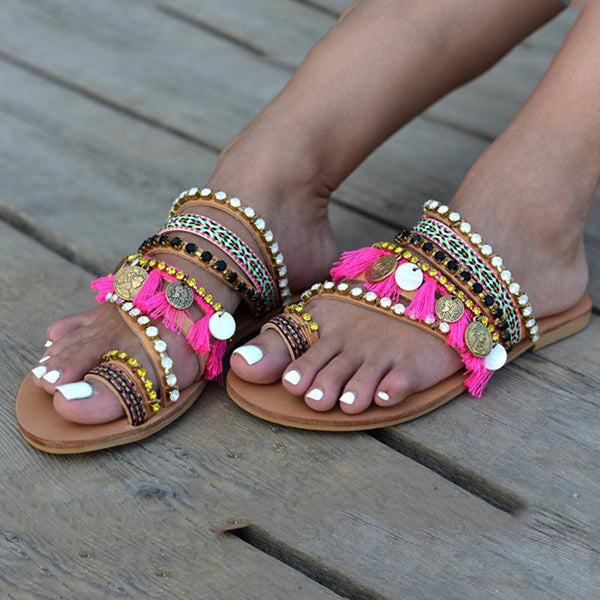 Boho Tassel Crystal Rivet Flip Flop Slip-On Flat Women Sandals