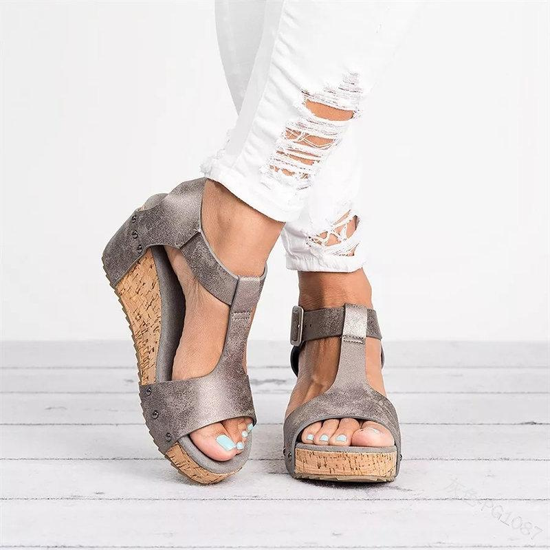 Peep Toe Buckle Strap Wedge Heel Sandals