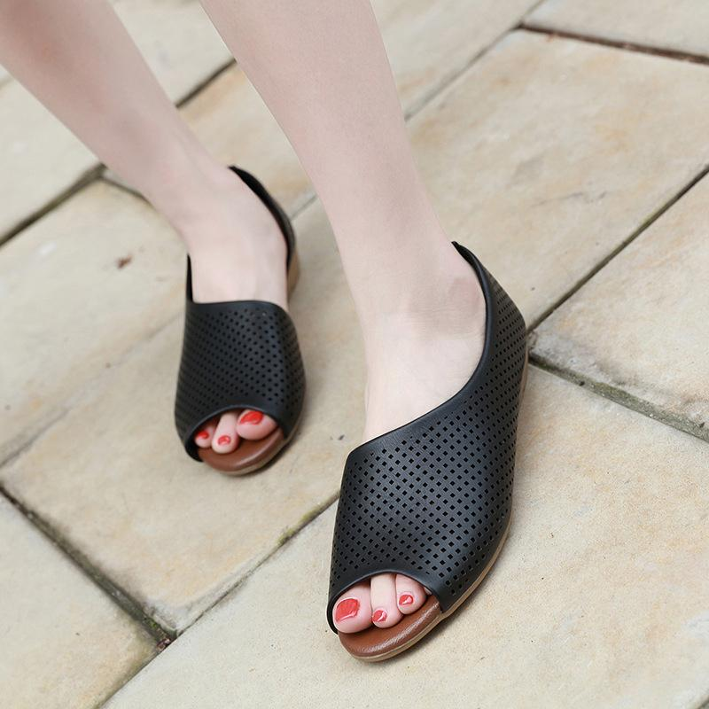 Wedges With Round Head Sandals Large Size Slippers