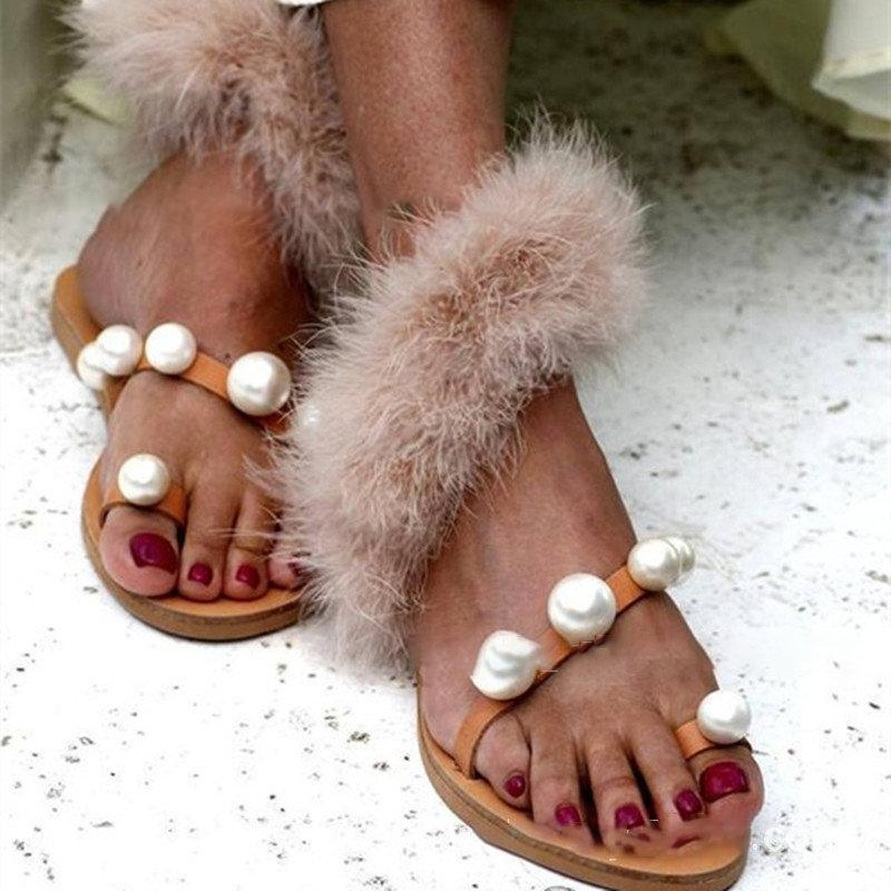 Pearl Flip Flops Sandals Fur Slip On PU Womens Sandals Holiday Shoes