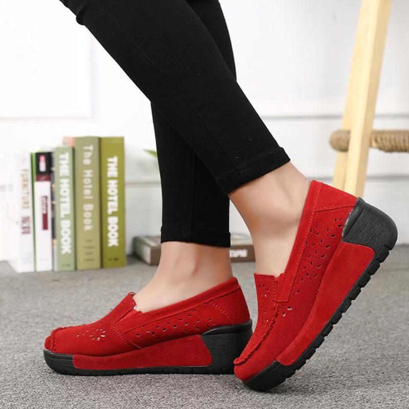 Women Hollow-out Round Toe Wedge Heel Shoes