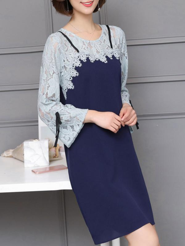Oversized Women Fashion Lace Spliced Dress Knee Length Loose Dresses