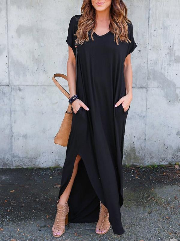 Women's Casual Long Sleeve Loose Fit Solid Maxi Dress