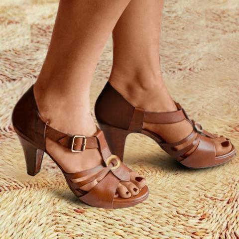 Stiletto Heel Buckle Peep Toe Casual Ankle Strap Women Sandals