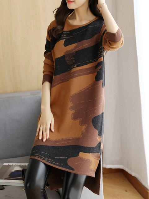 A-line Women Daily Long Sleeve Casual Slit Tribal Elegant Dress