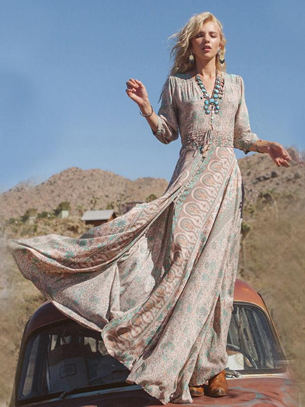 Women Printed Elastic Waist V-neck Maxi Dress