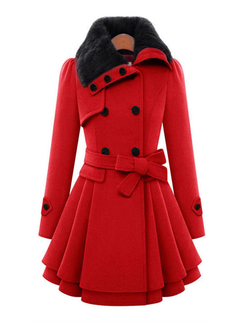 Lapel Faux fur Casual Solid Buttoned A-line Pea Coat