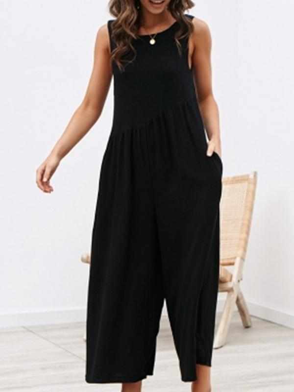 Solid Sexy Backless Round Neck Loose Tank Jumpsuits