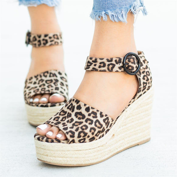 Women's Fashion Buckle Sandals Spring Espadrille Wedges