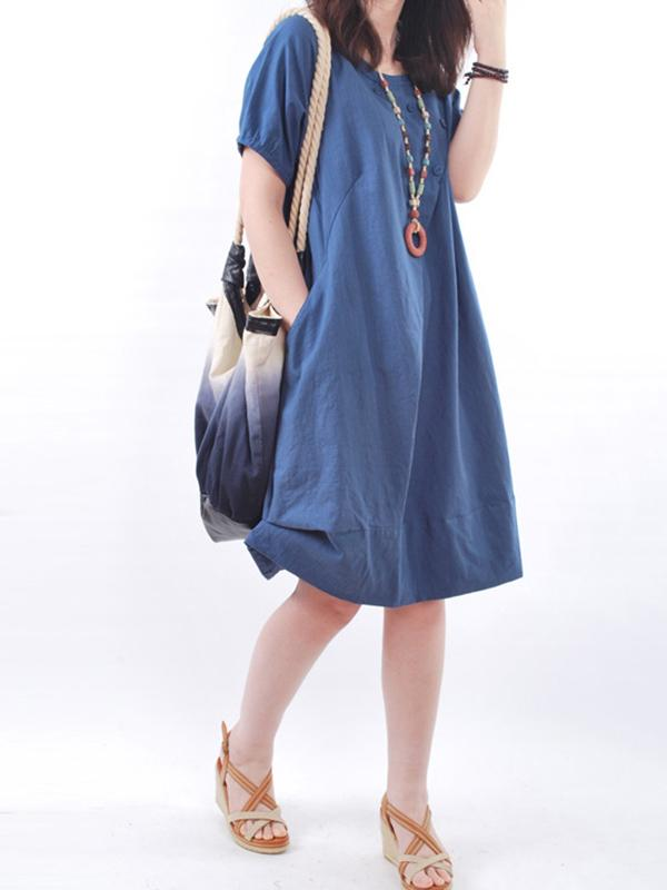 WOMEN SHORT SLEEVE POCKETS COCOON CASUAL DRESS