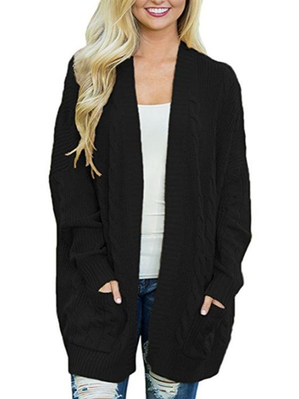 Women Casual Knit Coats Long Sleeve Cardigans