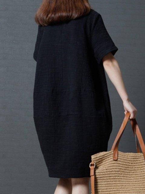 Women Short Sleeve Cocoon Plain Linen Dress