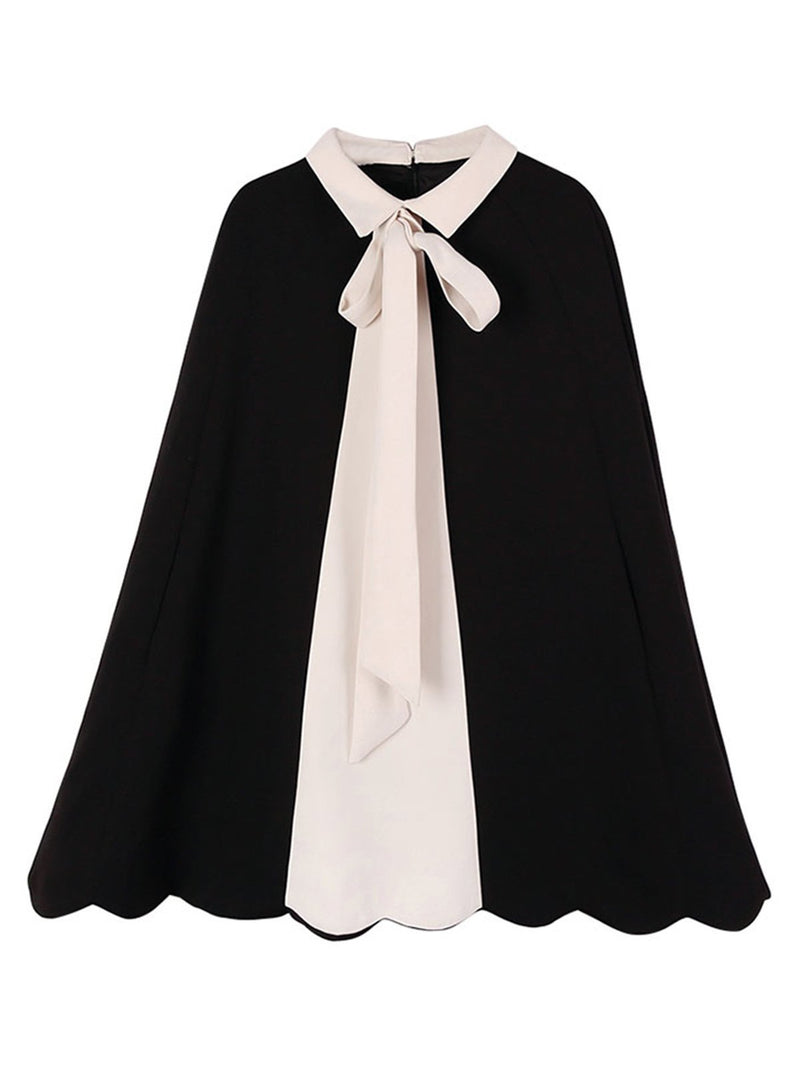 Women Color-Block Bowknot Outerwear Poncho
