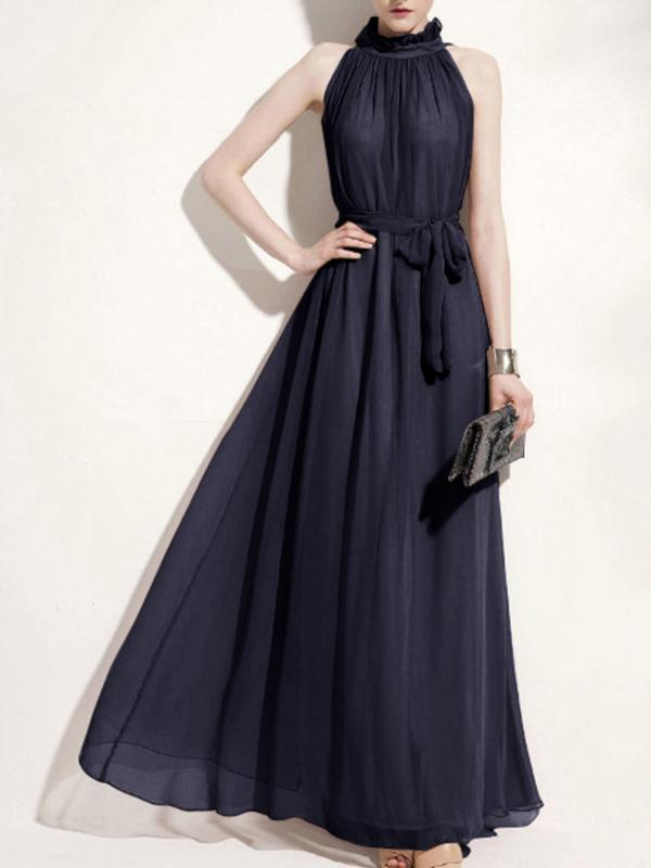 Fashion Bohemia Style Women Halter Neck Sleeveless Chiffon Long Maxi Dress Gowns