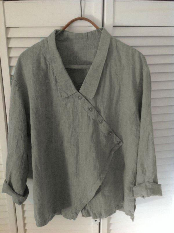 LONG SLEEVE V NECK LINEN CAUSAL TOPS