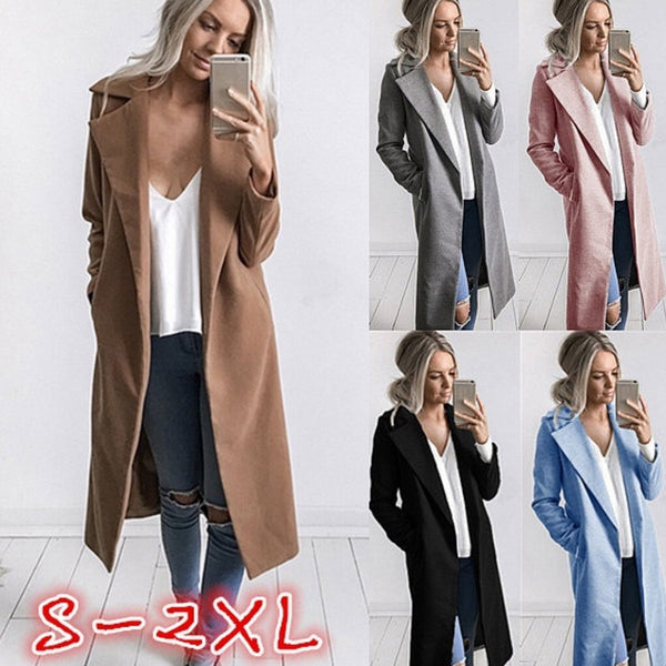 Women Long Sleeve Lapel Solid Casual Coat