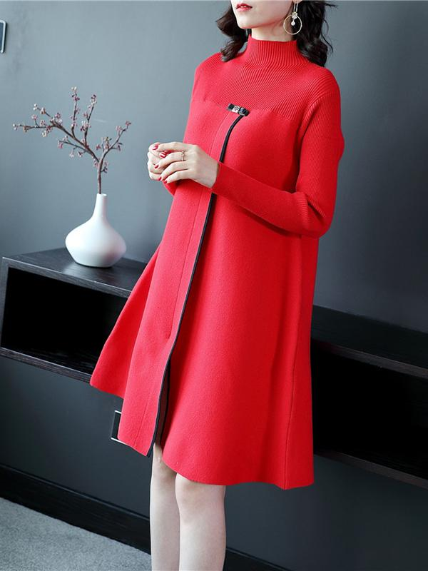 Women Loose long-sleeved knitting Midi Dresses