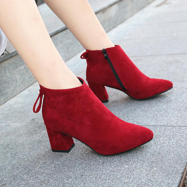 Women Fashion Nubuck Leather Ankle Height Pointed Toe Boots Pumps