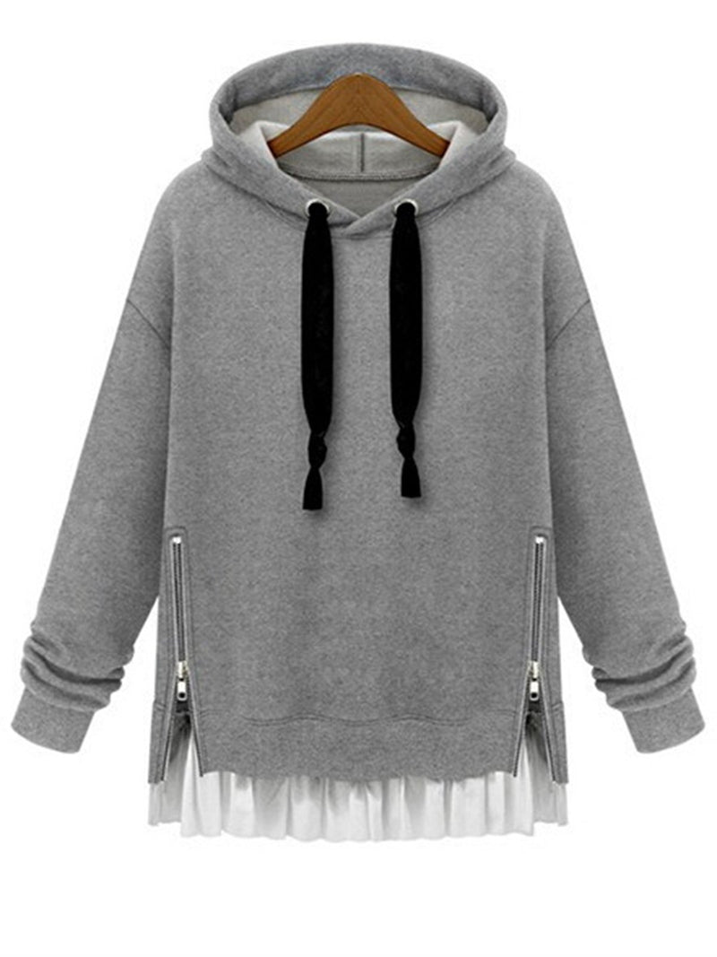 Women Daily Casual Spliced Long Sleeve Solid Hoodies Coat Pullovers