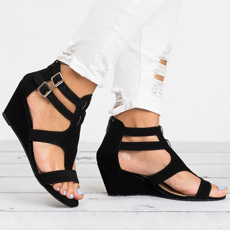 Plus Size Wedges Sandals Black Hollow Peep Toe With Buckles
