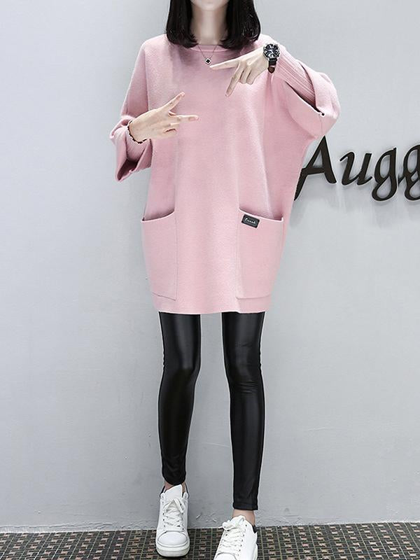 Women Crew Neck Casual Pockets Long Sleeve Dress