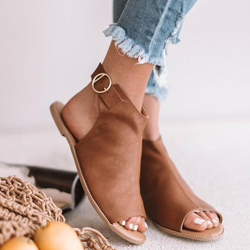 Slingback Open Toe Mule Flat Sandals