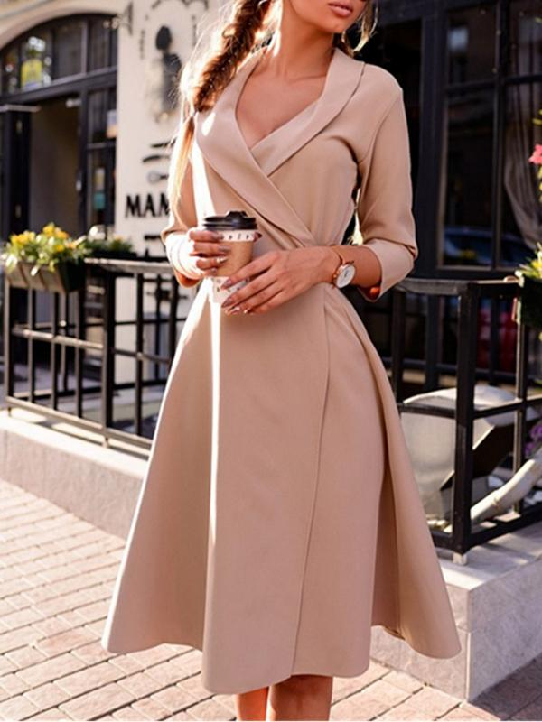Women Tie Waist Lapel Dresses